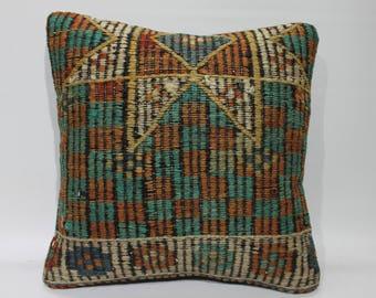 "Kilim Pillow Cover 16"" x 16"" Embroidered Vintage Turkish Kilim Rug Decorative Pillow Cover Handmade Kilim Cushion Covers   2637"