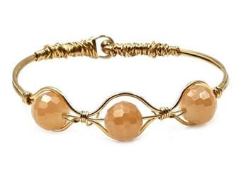 Champagne - Gold Wire Wrapped Hinged Bracelet