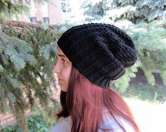 Unique gifts-for-girlfriend Womens hat Black beanie Winter accessories Hand knit hat beanie Gifts-for-sister Christmas gift knit slouchy hat
