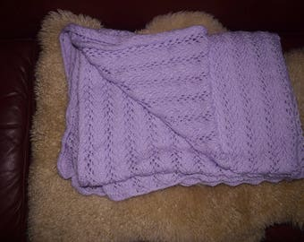 Lovingly hand knit lavender baby or lap blanket (leaf lace)