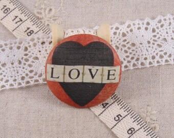 x 1 22mm fabric button love ref A12