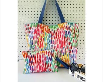 Beach Bag, Large colorful beach bag, Large tote bag, Colorful diaper bag, Beach diaper bag, Travel beach bag for women, Beach gift
