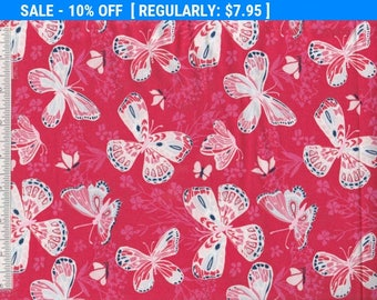 SALE! Aria - Per Yd  - MODA - Kate Spain Butterflies on Red or Coral & Leaves on Blue