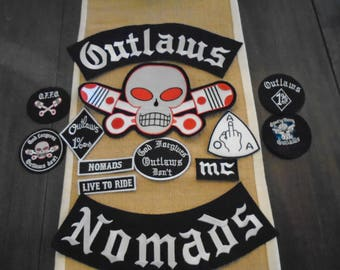 13 pc Outlaw MC Nomads patch set