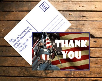 Instant Download Captain america Thank You Cards