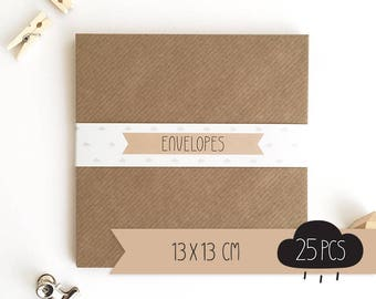 Envelope square / kraft brown / 13 x 13 cm / 25 pieces