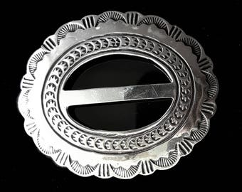 VINTAGE NAVAJO BELT buckle, silver concho belt slide or scarf slide / hand stamped with Native American design / Southwest accessories