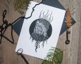 Toad Print. witchcraft fine art dotwork illustration drawing
