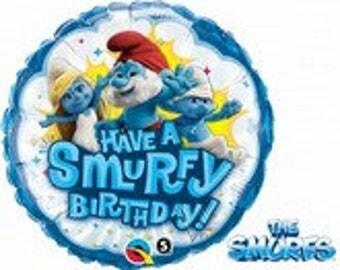 "18"" Have A Smurfy Birthday  Mylar Balloon, Smurfs Balloons,"