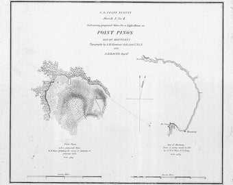 1851 Nautical Map of Point Pinos Bay of Monterey California