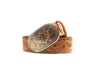 Vintage brown leather hand tooled country western belt