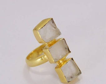 20% Off CIJ Sale Artisan Ring, Raw Crystal Quartz Ring, 22K Gold Plated Ring, Three Gemstone Ring, Healing Stone Ring, Statement Ring, Uniqu