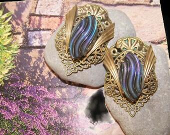 """Art Deco Revival """"Tokens of Gilt"""" Clip Earrings, Vintage Tokens of Gilt Earrings, Bold Jewelry, Statement Jewelry, Bold Earrings, Clips"""