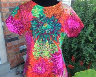 Specialtees special needs top tunic shirt blouse using fabulous Kaffe Fassett fabric post mastectomy, shoulder surgery, breastfeeding