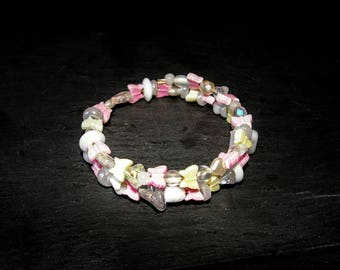 Cuff Bracelet two rows, soft pastel collection