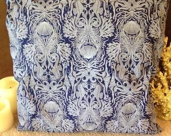 Deep Sea Blue Coral Print Beach Pillow Covers Ocean Seaside Cabana Resort Patio Decor