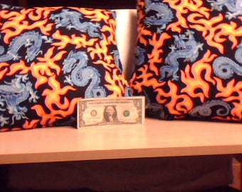 silver blue dragon with flames pillows pair