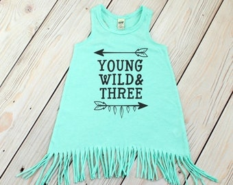 SUMMER SALE Young Wild and Three - Fringe Dress - Third Birthday -  Swimsuit Coverup - Baby Fringe Dress - Toddler Fringe Dress - 3rd Birthd