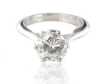 Ring women modern 18K White Gold diamond solitaire