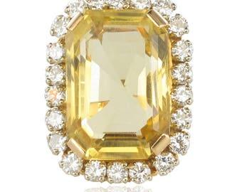 Vintage ring Vintage 18K Yellow Gold Diamond citrine