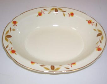 10 1/4 inch x 8 inch Oval Serving or Vegetable Bowl in the Jewel Tea, Autumn Leaf Pattern, Vintage,  made by Hall China Co