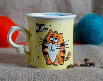 Funny cat mug coffee mug Ceramic tea cup Cute gift for girl birthday gift Stoneware mug Coffee gift Cat lover gift painted mug son mug