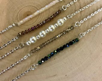 Silver Beaded Bar Necklaces