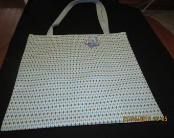 Beach bag in Michael miller fabric, blue Mini harlequin pattern, cover with a fusible interfacing, with 2 straps