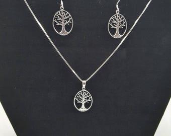 Celtic Tree of Life Pendant and Erring Set
