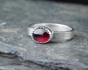 Red Garnet sterling silver ring, 8x6 mm gemstone, made at your size. January birthstone