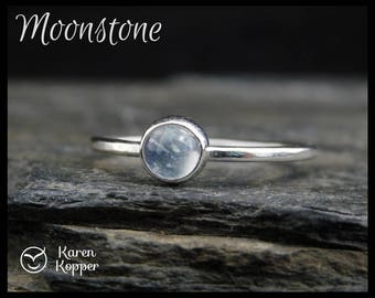 June birthstone ring - Moonstone Skinny sterling silver ring, 5mm gemstone, hammered, 1.2 mm ring. Skinny ring, thin ring, stacking ring.