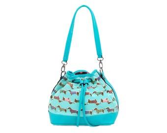 SALE! Bucket Bag - Dachshund dog bag - Ladies purse - Vegan shoulder bag- Teen girl handbag- Faux leather Canvas bag- Weiner Sausage dog bag