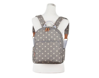 Ipad Polka dot Backpack, Ladies backpack, Teen girl polka dog rucksack, Oilcloth backpack, oil cloth laminated cotton, water resistant
