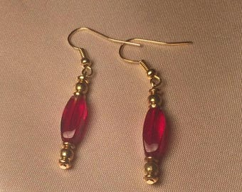 Translucent Red and Gold Glass Bead Earrings  - Gifts for Her - Beaded Jewelry - Glass Beads - Handmade Earrings
