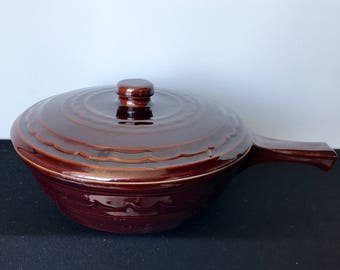 Vintage Mar-Crest Daisy-Dot French-Handled Covered Casserole