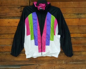 Rare Vintage Lavon Multicolor Windbreaker Jacket, Size XL