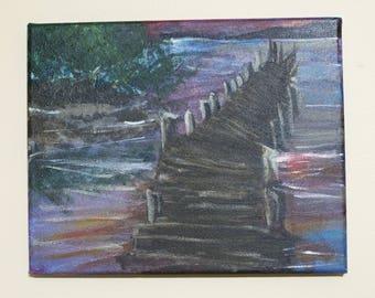 Reflection- Acrylic Painting, Handmade Original Lake Painting On Canvas 8x10