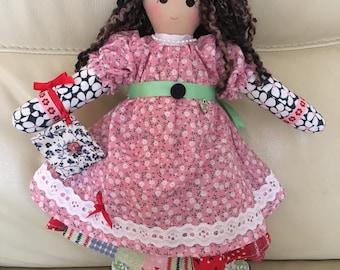handmade rag doll, traditional rag doll, unique rag doll, Jemima rag doll,