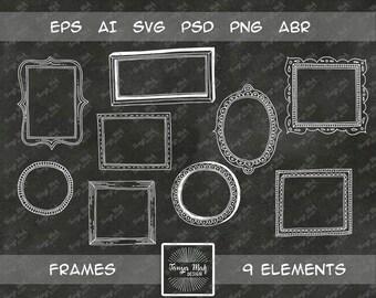 Hand drawn frames clipart, doodle frames, vector frame, frames svg, frames brushes for photoshop, digital stamps, vector frames eps, lineart
