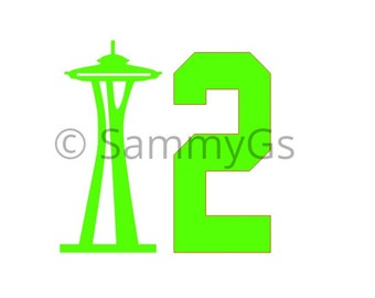 Seattle Seahawks 12th man space needle SVG, JPG Silhouette file, Cricut