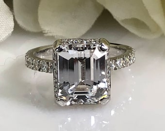 Moissanite Emerald Cut With Diamonds Set On Head And Band Engagement Promise Wedding Anniversary Ring 14K White Gold  #5455