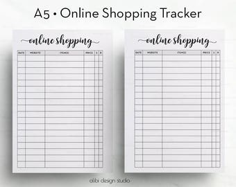 Online Shopping, A5 Planner Inserts, Shopping Tracker, Printable Planner, A5 Insert, Online Purchases, To Do List, Online Orders, A5 Filofax