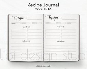B6 TN, Recipe Journal,  Travelers Notebook, Recipe Book, Midori Inserts, Traveler's Notebook B6, TN Inserts, Midori, Bullet Journal