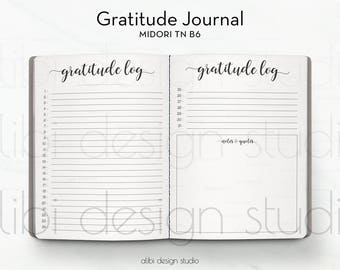 B6 TN, Gratitude Journal, Travelers Notebook, Gratitude Notebook, Midori Insert, TN Inserts, Midori, Gratitude Planner, Midori B6, Gratitude