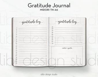 A6 TN, Gratitude Journal, Travelers Notebook, Gratitude Notebook, Midori Insert, TN Inserts, Midori, Gratitude Planner, Midori A6, Gratitude