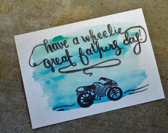 have a wheelie great fathers day - handmade watercolor card