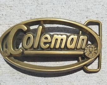 Vintage 1970s Coleman brass belt buckle