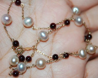 """JCM 10K Solid Yellow Gold Chain with Pearls Garnets Stamped 17"""" Long BEAUTIFUL"""