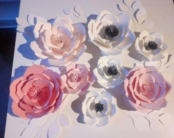 8 paper wall flowers set, nursery decoration, party, gift.