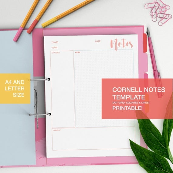 Cornell notes template printable student notes student